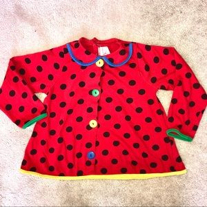 4/$25 Polkadots Red Collared Button Blouse Shirt
